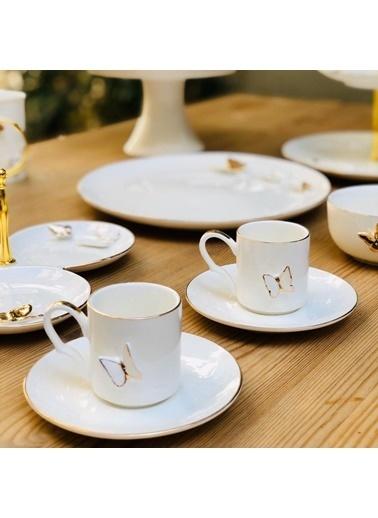 Arow Porselen Kelebekli 2'Li Kahve Takımı Renkli